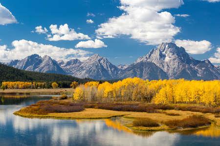 와이오밍 주에있는 가을의 그랜드 Teton 국립 공원 스톡 콘텐츠