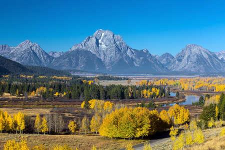 oxbow: Grand Teton National Park in autumn in Wyoming USA Stock Photo