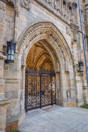 ivy league: Old entrance of Yale university buildings in New Haven, CT USA