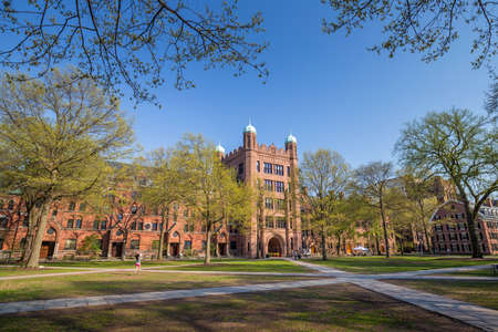 building bricks: Yale university buildings in spring blue sky in New Haven, CT USA