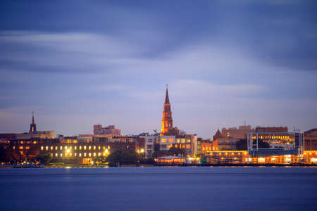 Skyline of Charleston, South Carolina, USA at twilight.