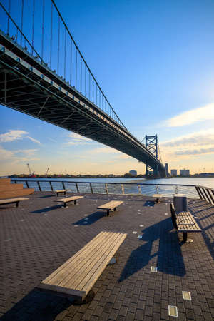 visions of america: Ben Franklin Bridge in  Philadelphia USA Stock Photo