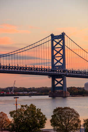 visions of america: Ben Franklin Bridge in  Philadelphia USA Stock Photo