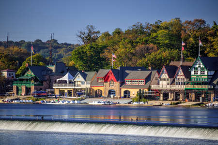 boathouse: Boathouse Row in Philadelphia.