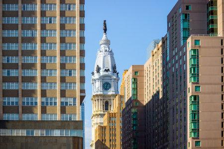 William Penn statue on a top of City Hall Philadelphia USA