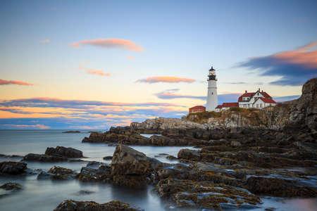 head light: The Portland Head Light At Sunset, Portland, Maine, USA