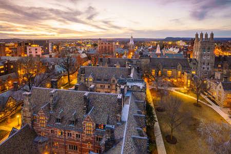 Bâtiment historique et Yale campus universitaire dans le centre de New Haven CT, USA