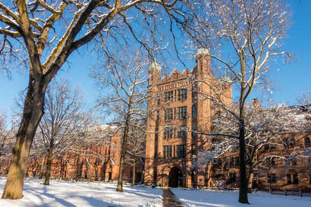 haven: Yale university buildings in winter in New Haven, CT USA Editorial