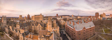 subset: Historical building and Yale university campus in downtown New Haven CT, USA