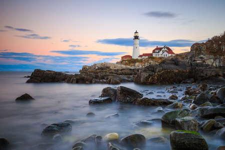 portland: The Portland Head Light At Sunset, Portland, Maine, USA