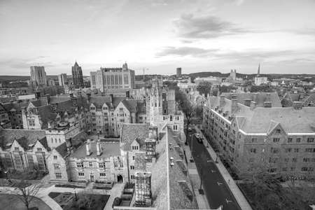 Historical building and Yale university campus in downtown New Haven CT, USA