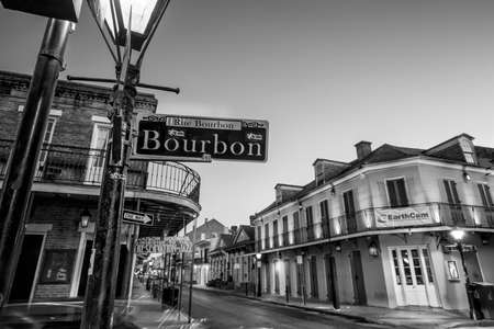 bourbon street: NEW ORLEANS, LOUISIANA - AUGUST 25: Bourbon Street sign with pubs and bars and neon lights  in the French Quarter, New Orleans on August 25, 2015.