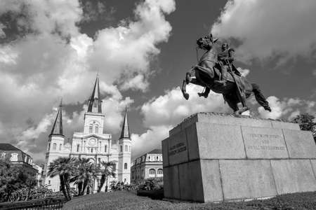 port jackson: Saint Louis Cathedral and statue of Andrew Jackson at the Jackson Square New Orleans Stock Photo