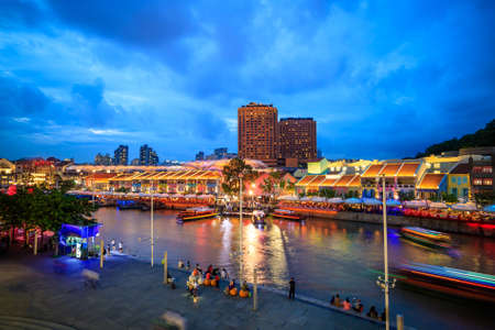 quay: Clarke Quay in downtown Singapore  at night