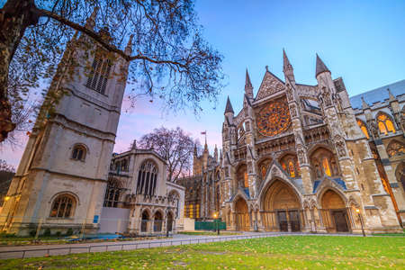 spiritualism: Twilight view of Westminister Abbey cathedral in London, United Kingdom Stock Photo