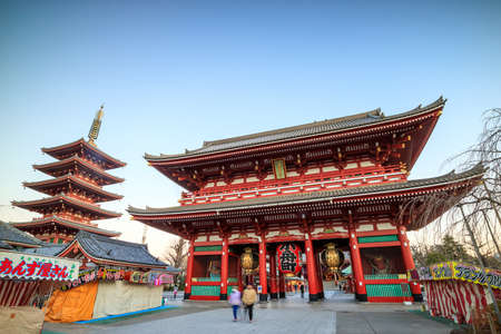 TOKYO, JAPAN - JANUARY 9: Sensoji Temple on January 9, 2016 in Tokyo, Japan. The temple is the oldest and the most popular destination in Tokyo.