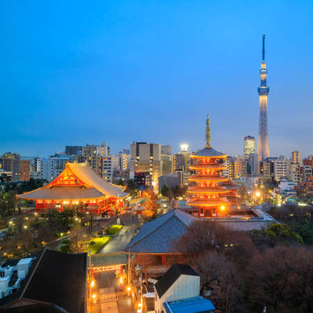 View of Tokyo skyline with Senso-ji Temple and Tokyo skytree at twilight in Japan. Stock Photo