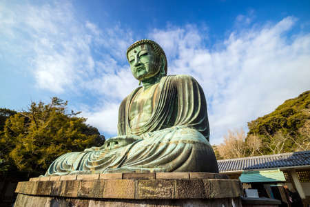 Daibutsu, the famous Great Buddha bronze statue in Kamakura, Kotokuin Temple in Japan.