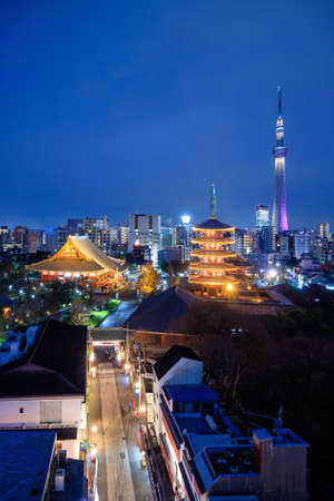 View of Tokyo skyline with Senso-ji Temple and Tokyo skytree at twilight in Japan. Editorial
