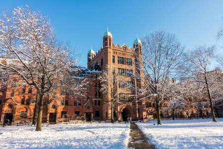 ivy league: Yale university buildings in winter in New Haven, CT USA Stock Photo