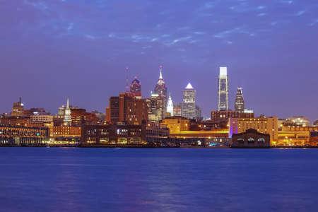 delaware: Philadelphia skyline reflected in the Delaware river under a twilight
