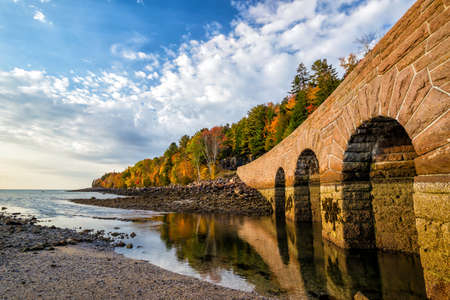 Beautiful fall colors of Acadia National Park in Maine USA Stock Photo