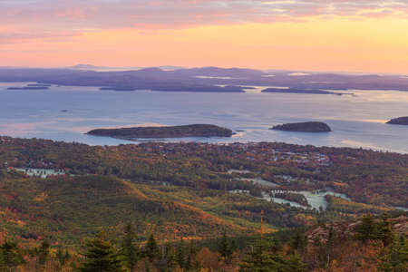 erratic: Beautiful fall colors of Acadia National Park in Maine USA Stock Photo