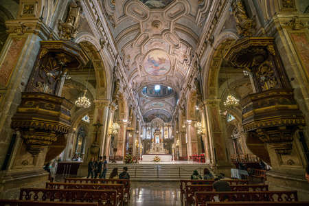 SANTIAGO, CHILE - May 7: Metropolitana cathedral on Plaza de Armas on May 7, 2016 in Santiago, Chile.