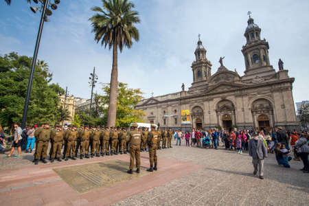 plaza de armas: SANTIAGO, CHILE - May 7: Group of police officers at Plaza de Armas on May 7, 2016 in Santiago, Chile. Editorial