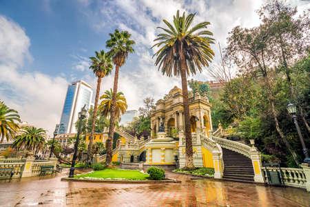 Vintage Cerro Santa Lucia in Downtown Santiago, Chile.