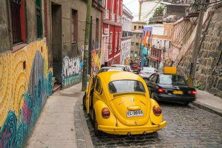 window graffiti: VALPARAISO, CHILE - May 16, 2016: Colourful street art decorating houses in the UNESCO World Heritage port city of Valparaiso in Chile.