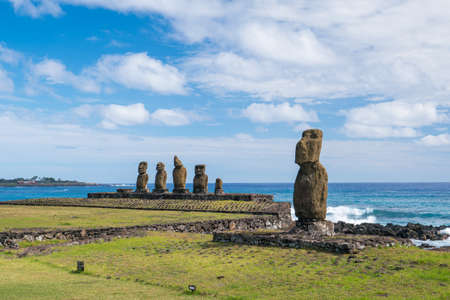 Group of Moai statues in Easter Island Chile