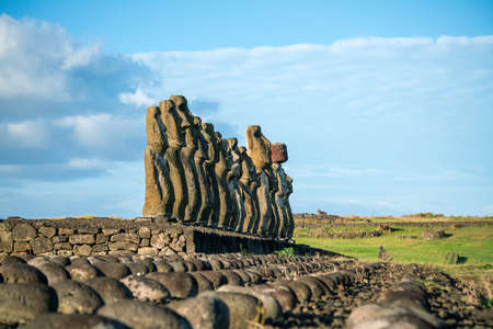 Moais at Ahu Tongariki in Easter island, Chile