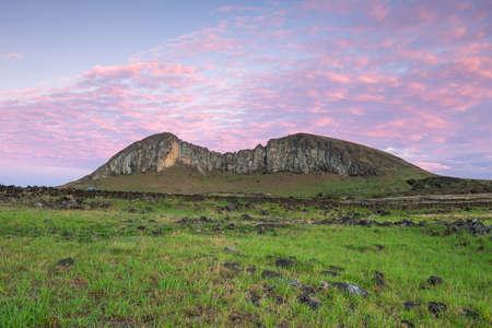Mountain at Ahu Tongariki in Easter island, Chile Stock Photo