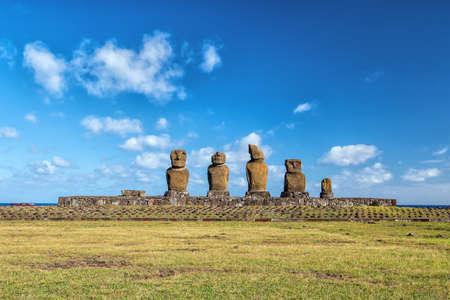 rapanui: Disparo de la estatua Moai en la isla de Pascua Chile