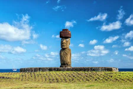 moai: Disparo de la estatua Moai en la isla de Pascua Chile