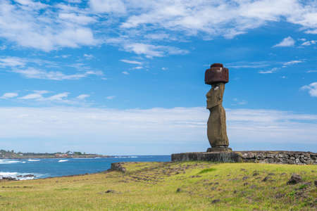 Moai statue at Easter Island Chile by the sea Stock Photo