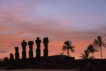 Moais at Anakena beach in Easter Island Chile