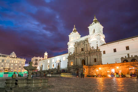 Plaza de San Francisco in old town Quito, Ecuador Stock Photo
