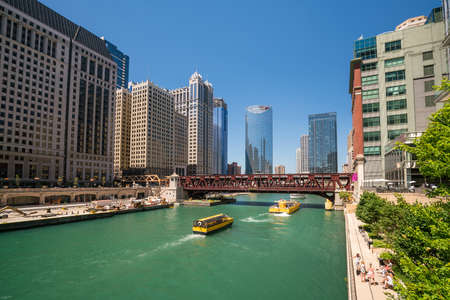The Chicago River and downtown Chicago skyline USA Stock Photo