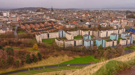 scot: Old town Edinburgh in Scotland UK from top view Stock Photo