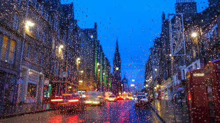 lothian: Old town Edinburgh and Edinburgh castle in Scotland UK rainy day