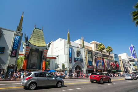 Hollywood boulevard: LOS ANGELES - JULY 12: View of Hollywood Boulevard on July 12, 2016 in Hollywood, CA. In 1958, the Hollywood Walk of Fame was created as a tribute to artists working in the entertainment industry.