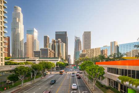 Downtown Los Angeles skyline with blue sky Standard-Bild