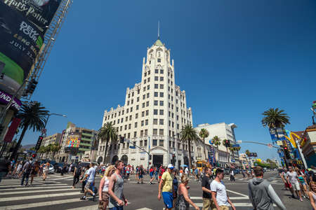 LOS ANGELES - JULY 12: View of Hollywood Boulevard on July 12, 2016 in Hollywood, CA. In 1958, the Hollywood Walk of Fame was created as a tribute to artists working in the entertainment industry.