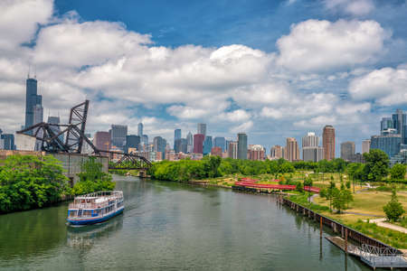 illinois river: The Chicago River and downtown Chicago skyline USA Stock Photo