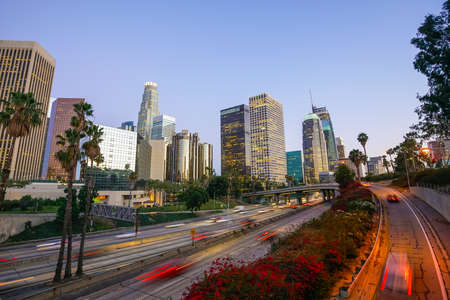 Downtown Los Angeles skyline with blue sky Stock Photo