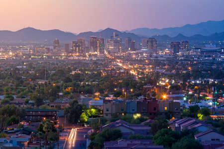 aerial city: Top view of downtown Phoenix Arizona at sunset in USA Stock Photo
