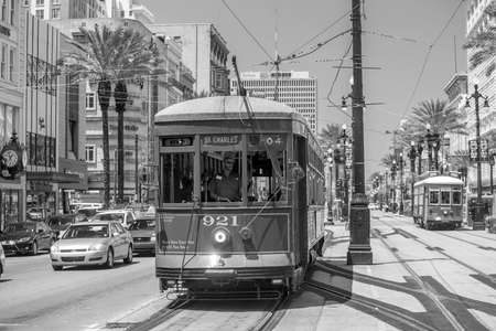 streetcar: NEW ORLEANS, USA - AUGUST 25: New Orleans Streetcar Line at downtown New Orleans on August 25, 2015. The New Orleans Streetcar line began electric operation in 1893. Editorial