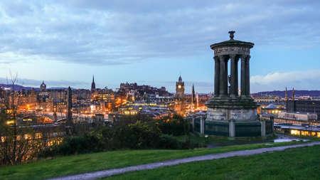 scottish culture: View of old town Edinburgh at twilight Stock Photo